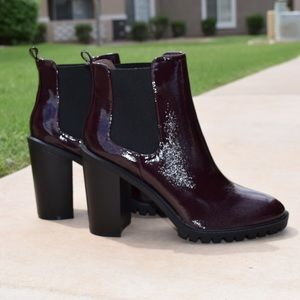 Wine Patent Ankle Boots Rugged Sole Chunky Heel